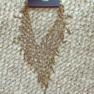 Bronze colored chain link statement necklace